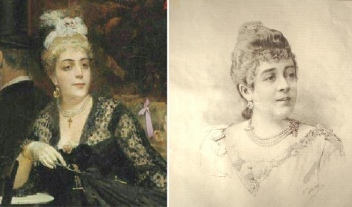 «Парижское кафе». Фрагмент. / Анна Мари Луиза Дамьен. (1849-1911). Фото из журнала.