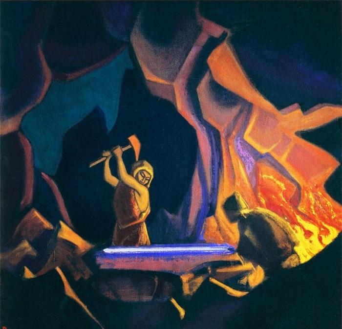 Н.К. Рерих. «Ковка меча». (1941).