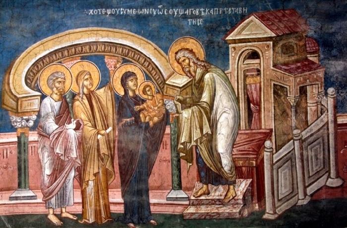 Дева Мария, вносящая сына в храм.