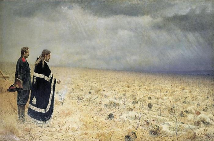 Побежденные. Панихида по убитым. (1877-1879). Автор: Василий Верещагин.