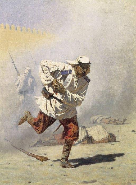 Смертельно раненый. (1873). Автор: Василий Верещагин.
