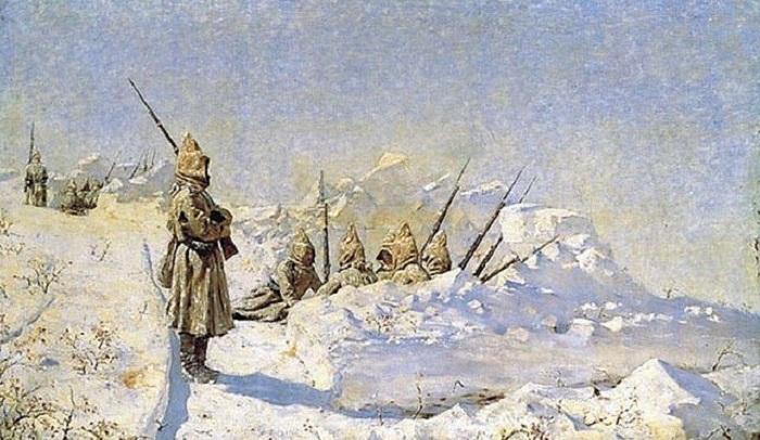 Русские позиции на Шипкинском перевале. Автор: Василий Верещагин.