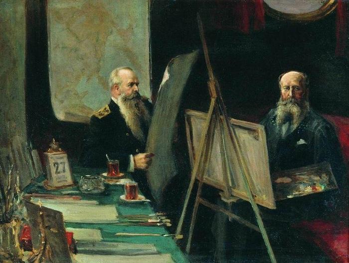 «Адмирал С.О. Макаров и художник-баталист В. В. Верещагин в каюте». (1904). Автор: Е.Столица.
