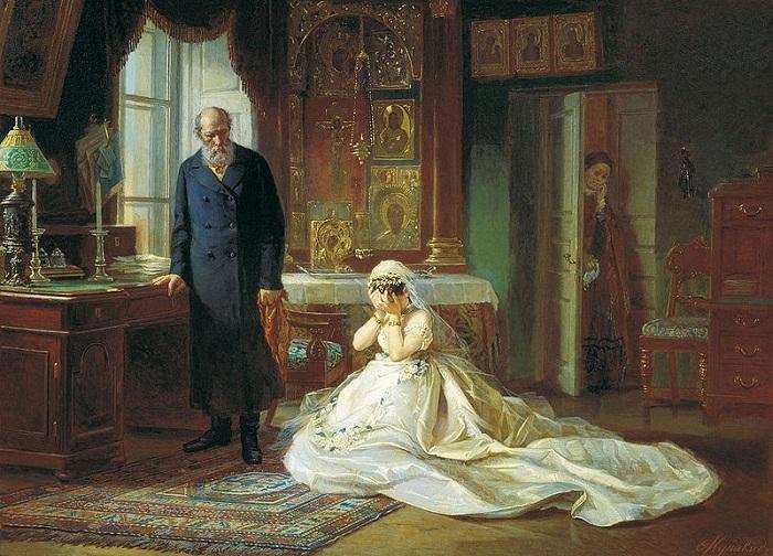 «Перед венцом». (1874). Автор: Фирс Журавлев.