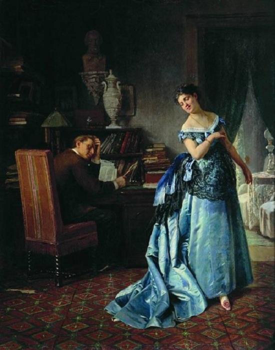 «Жена-модница». (Сборы на бал). (1872). Автор: Фирс Журавлев.
