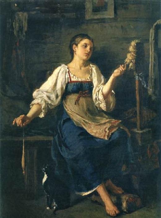 «Пряха». (1884). Автор: Фирс Журавлев.