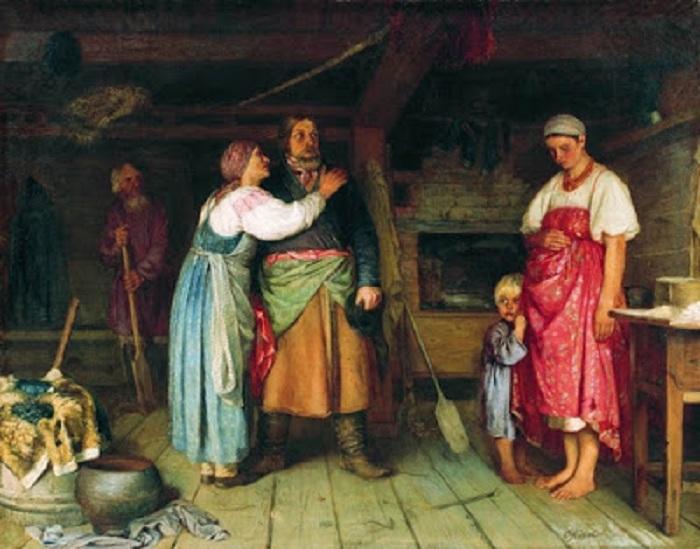 «Возвращение домой». (1868). Автор: Фирс Журавлев.