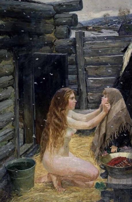 «Весна (В бане)».(1954). Автор: Аркадий Пластов