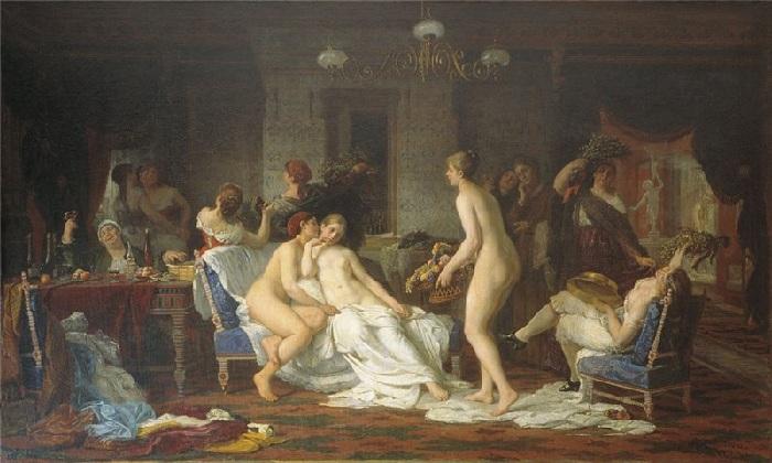 «Девичник в бане». (1885 г.). Автор: Фирс Журавлев.