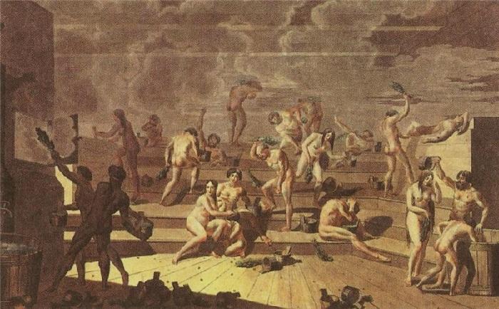 «Русская баня». (1812г.) Автор: Е.М.Корнеев.