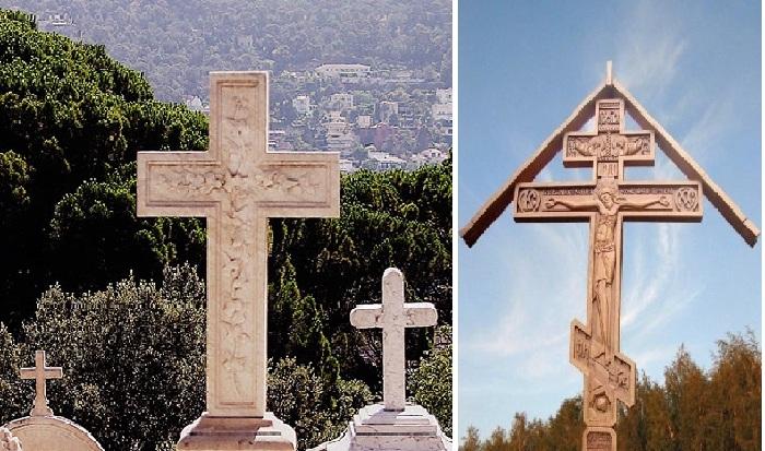 Христианские надгробные кресты католического и православного вероисповедания.