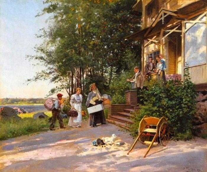 «Приезд на дачу». (1899). Автор: Владимир Маковский.