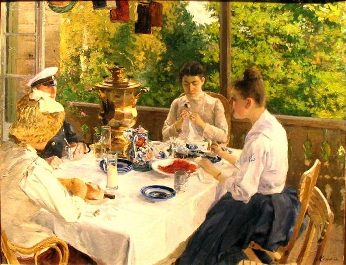 « За чайным столом. (1888). Автор: Константин Коровин.