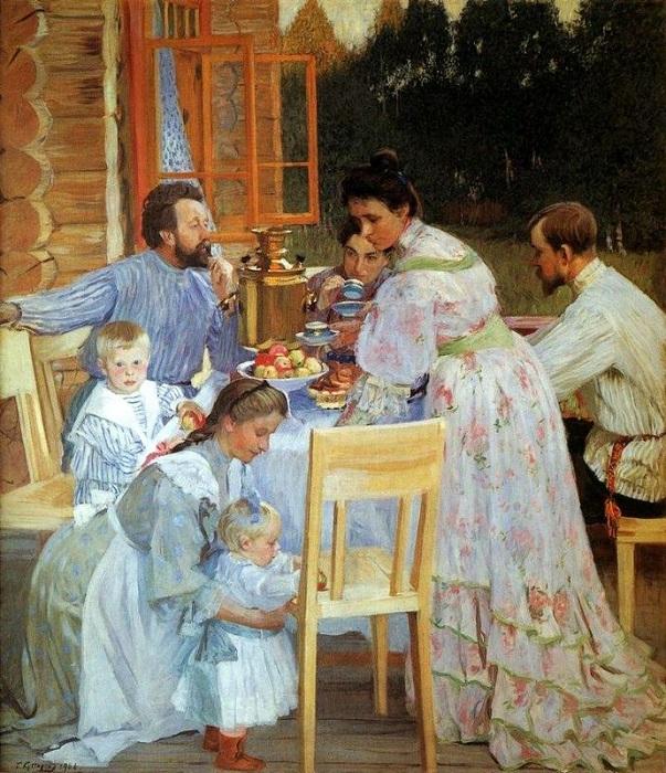 «На террасе». (1906). Автор: Борис Кустодиев. Нижегородский художественный музей
