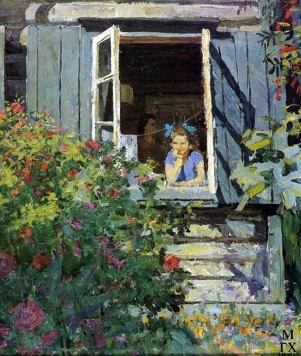 «На даче». Автор: Федор Решетников.