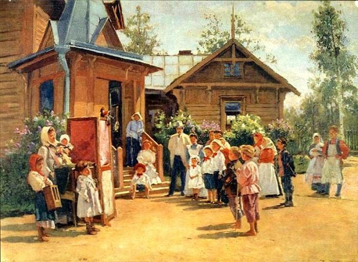 «Кукольное представление на дачах». Автор: Владимир Маковский.