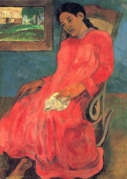 Женщина в красном. Автор: Гоген Поль.