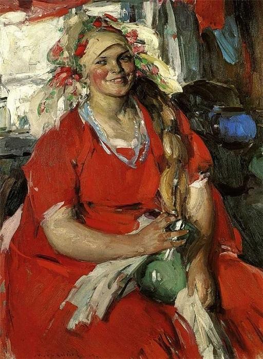 Женщина в красном. (1919). Автор: Архипов Абрам Ефимович.