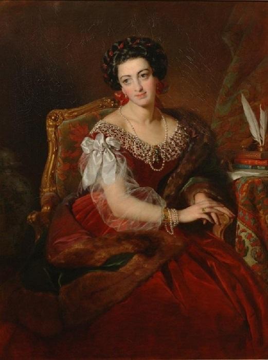 Графиня Кастильоне Барбара фон. (1838г). Автор: Фридрих фон Амерлинг.