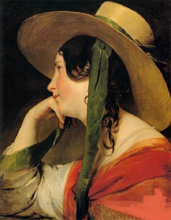 Девушка в жёлтой шляпе (1838г). Автор: Фридрих фон Амерлинг.
