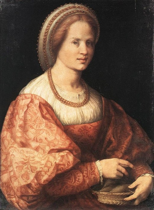 Lady with a Basket of Spindles. (1516). Автор: Jacopo Pontormo.