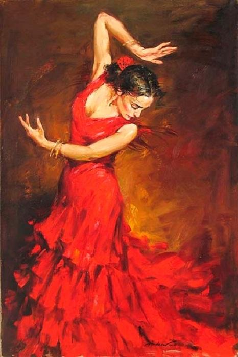 Танцующая женщина в красном. Автор: Андрей Атрошенко.