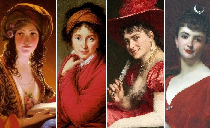 Женщины в красном на картинах художников разных эпох