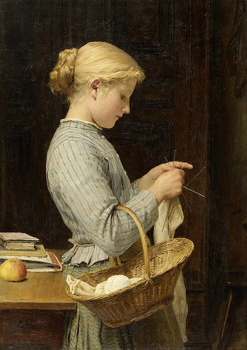 Вяжущая девушка. (1888). Автор: Альберт Анкер.