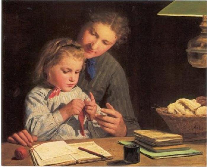 Урок вязания. Автор: Albert Samuel Anker.