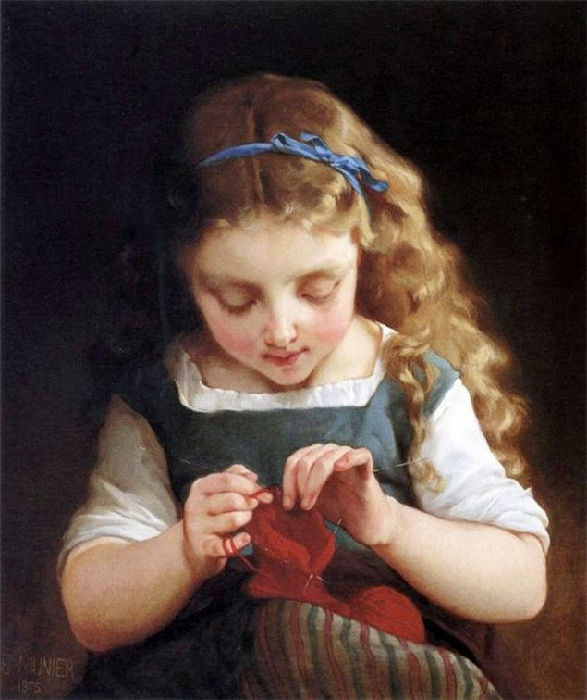 Маленькая вязальщица. Автор: Emile Munier.