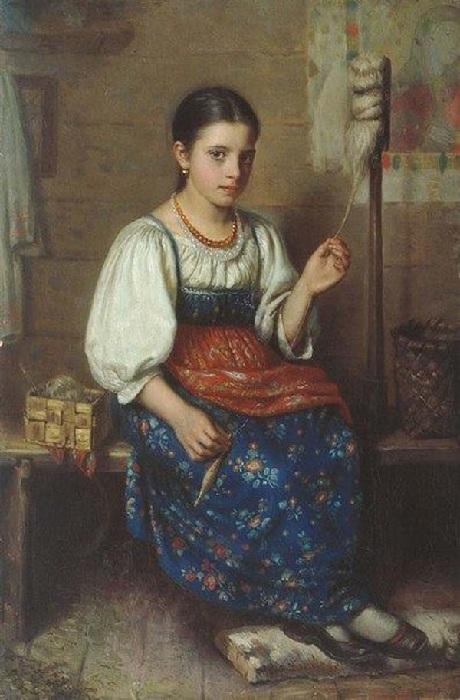Юная пряха. Автор: Николай Дубовской.
