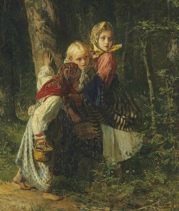 Крестьянские девочки в лесу. Автор: Алексей Корзухин.