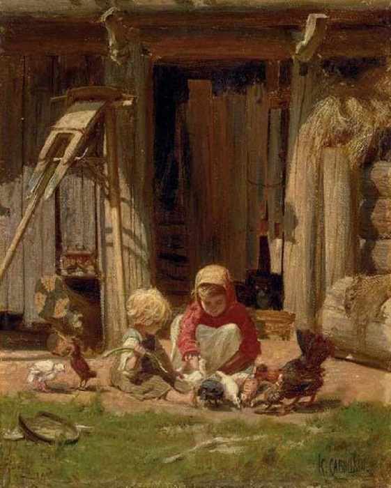 Дети кормят цыплят у хлева. Автор: Георгий Савицкий.