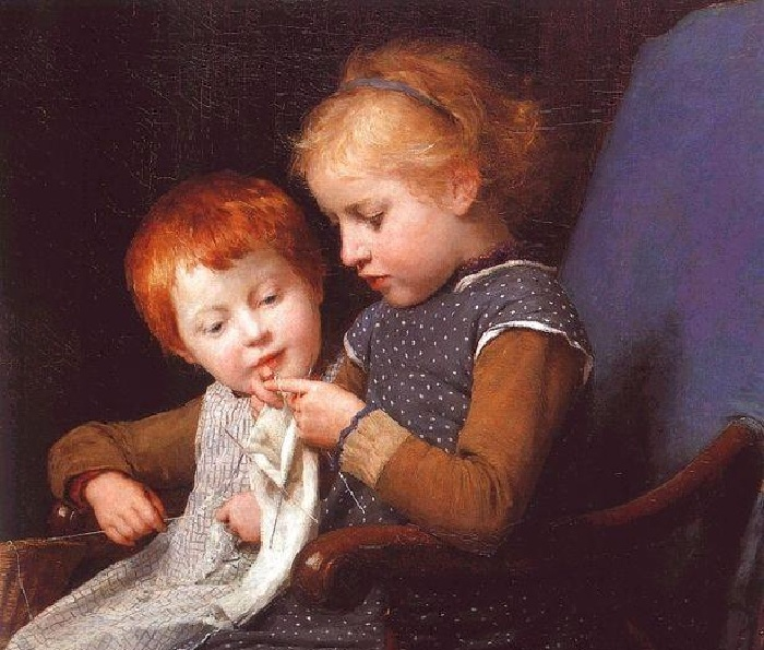 Маленькая вязальщица с братом. Автор:Albert Samuel Anker.