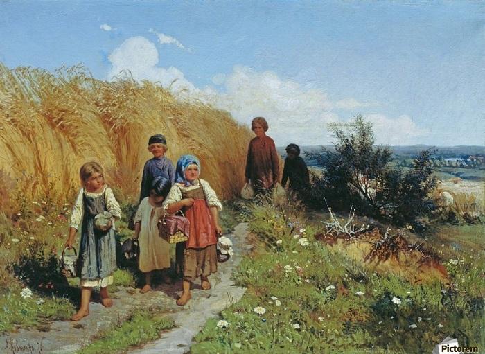 Крестьянские дети несут отцам в поле обед. Автор: Алексей Кивченко.