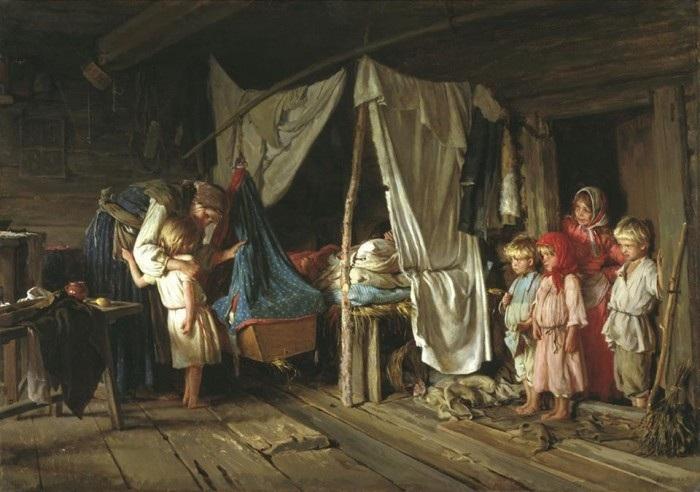 Новое знакомство. (1885). Автор: К.В.Лемох.