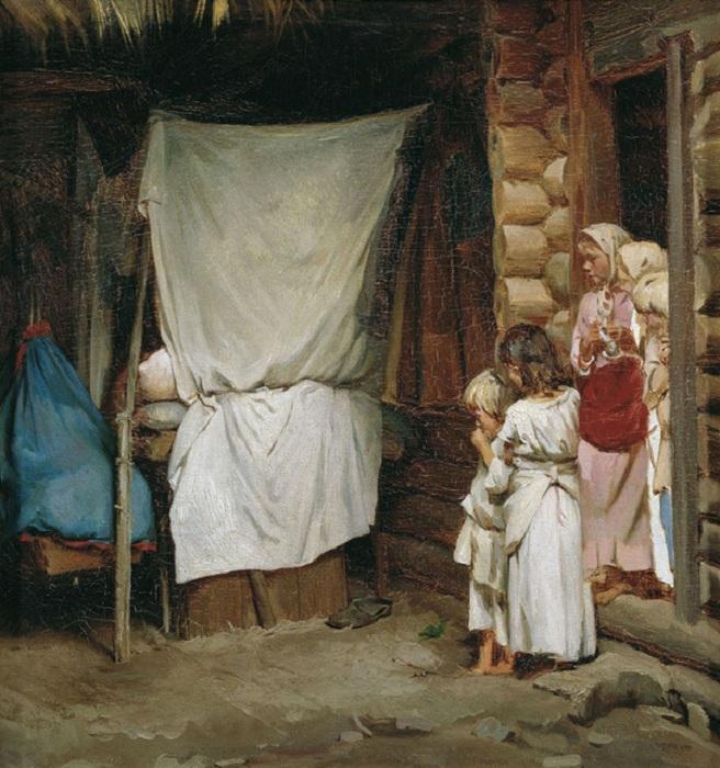 """""""Новый член семьи"""". (1880). Автор: К.В.Лемох."""