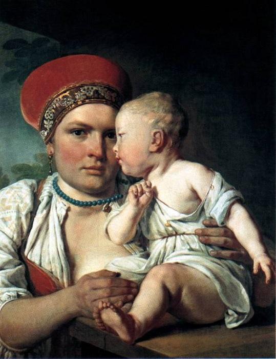 """""""Кормилица с ребенком"""".(1830). Алексей Венецианов."""