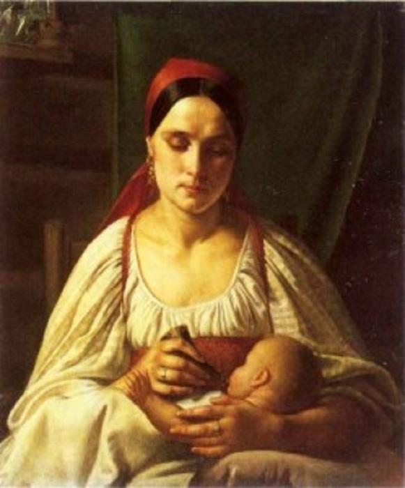 Крестьянка кормит младенца из рожка. (1830).