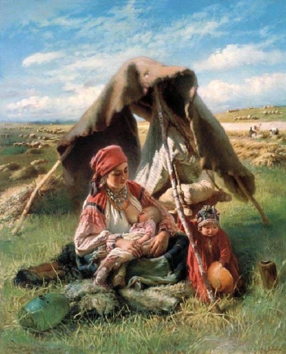 Мать с детьми в поле.