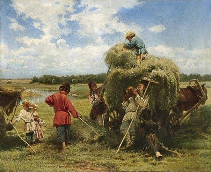 Семья на сенокосе. Автор: Владимир Маковский.