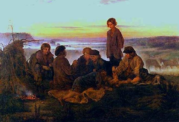 Крестьянские мальчики в ночном стерегут лошадей. (1869). Автор: Владимир Маковский.