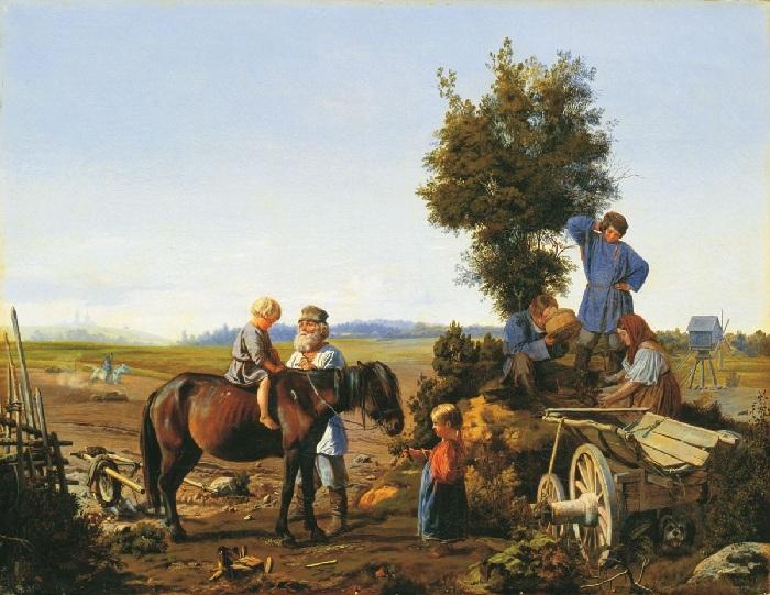 Семья в поле.