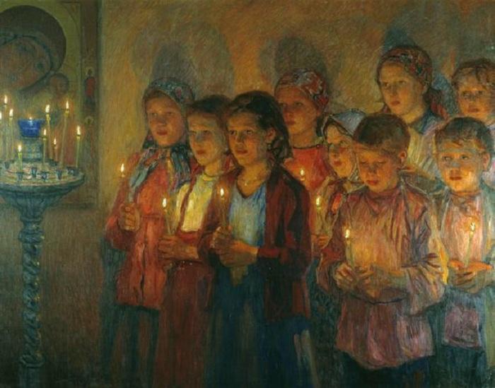 «В церкви». Автор: Николай Богданов-Бельский.