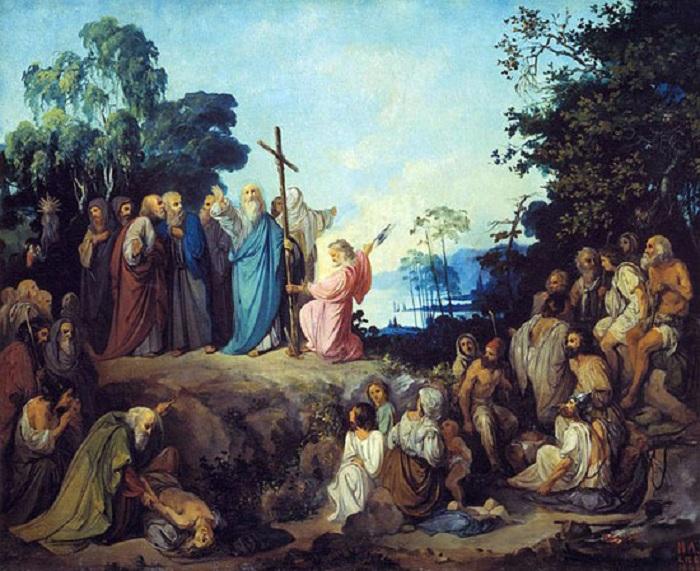 Апостол Андрей Первозванный водружает крест на горах Киевских. Автор: Николай Ломтев.