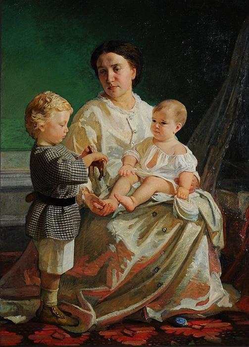 Портрет жены художника Анны Петровны с сыновьями Николаем и Петром. (1861). Автор: Николай Ге.