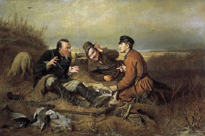«Охотники на привале». (1871 год.) Автор: Василий Перов.