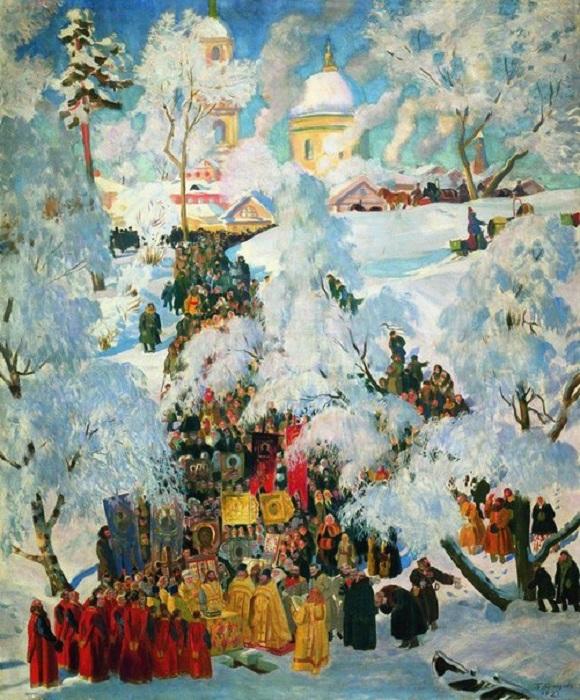 Борис Кустодиев. Крещение. Водосвятие. 1921 год.