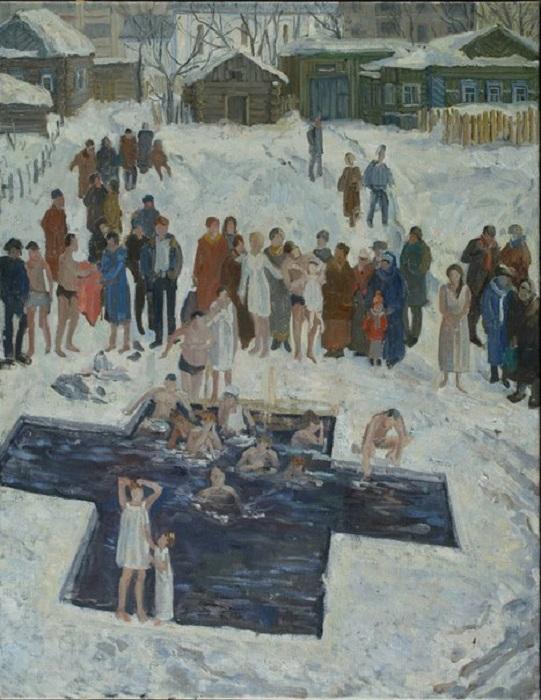 Купание на Крещение. Автор: Панцырева Е. Ю.