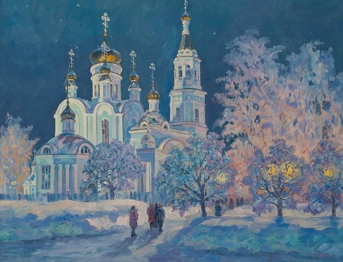 Покровско-Татианинский собор в Крещенскую ночь. Автор: Анатолий Данилов.